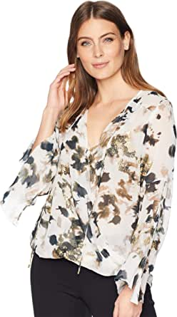 Kenneth Cole Women's Wrapped Front Flouncy Sleeve Top, Urb Camoflge-Multi, L