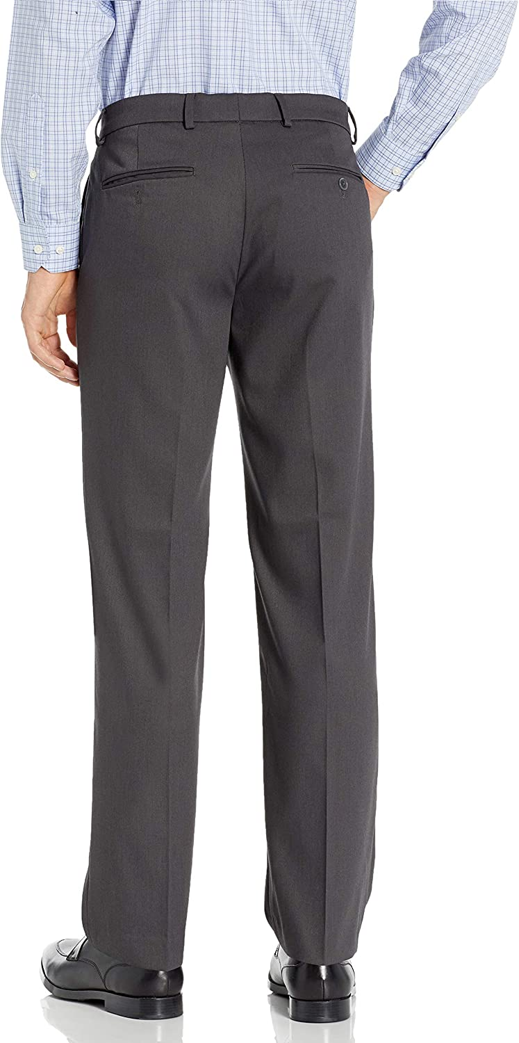 Dockers Mens Flat Front Dress Trousers with Stretch Dress Pants Dark Charcoal