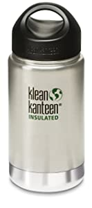 Klean Kanteen Wide Mouth 12 Ounce Insulated Stainless Steel Bottle with Leakproof Loop Cap - Brushed Stainless