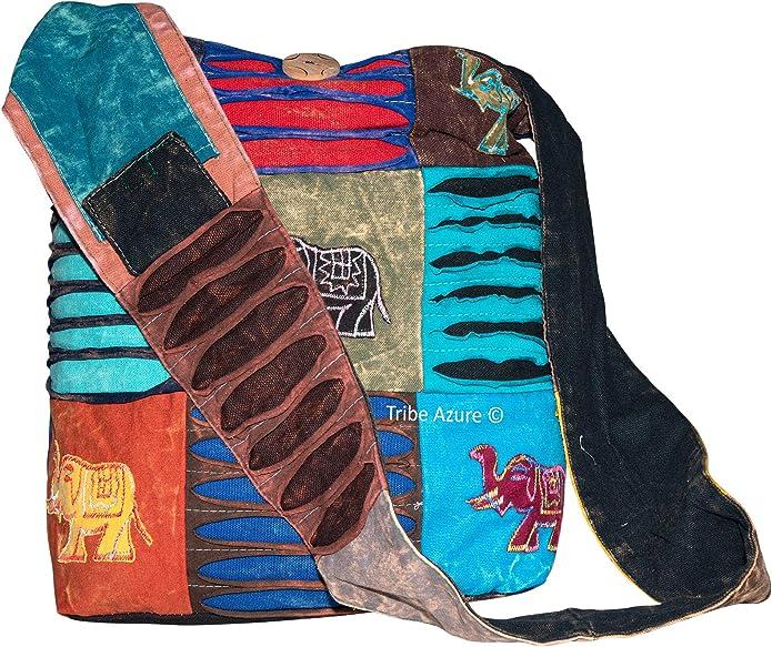 Rovinci Ladies Bohemian owl Embroidered Pattern Shoulder Bag Ethnic Style Crossbody Bag Canvas Cartoon Handbag Shoulder Messenger Bag Ladies Satchel Tote Bags