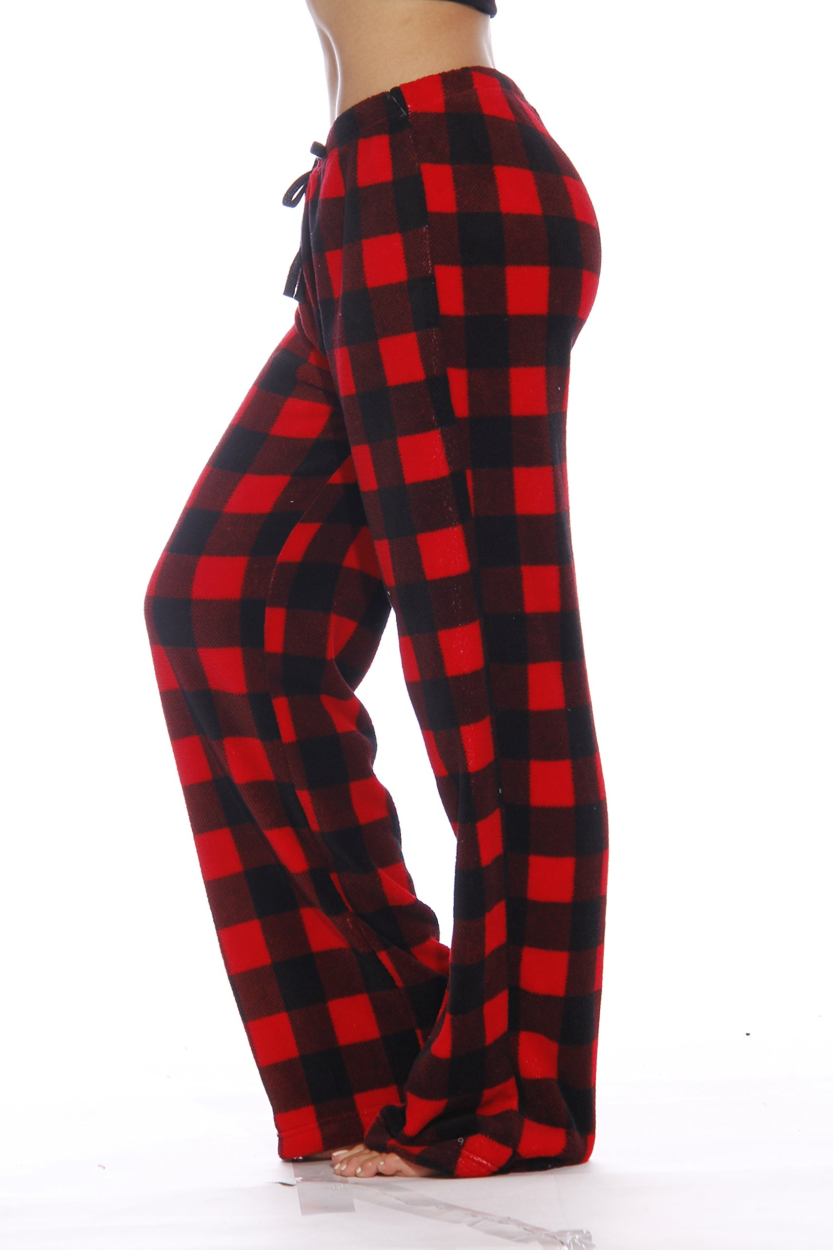 Just Love Women's Plush Pajama Pants, Small, Buffalo Plaid Red by Just Love (Image #2)