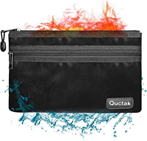 """Fireproof Money Bag Two Pockets Two Zippers,Quctak Fireproof Safe Bag 10.6""""x6.7"""" Waterproof and Fireproof Cash Bag Money Safe Pouch Storage for A5 Bank Deposit,Passport,Jewelry (1 Layer Protection)"""