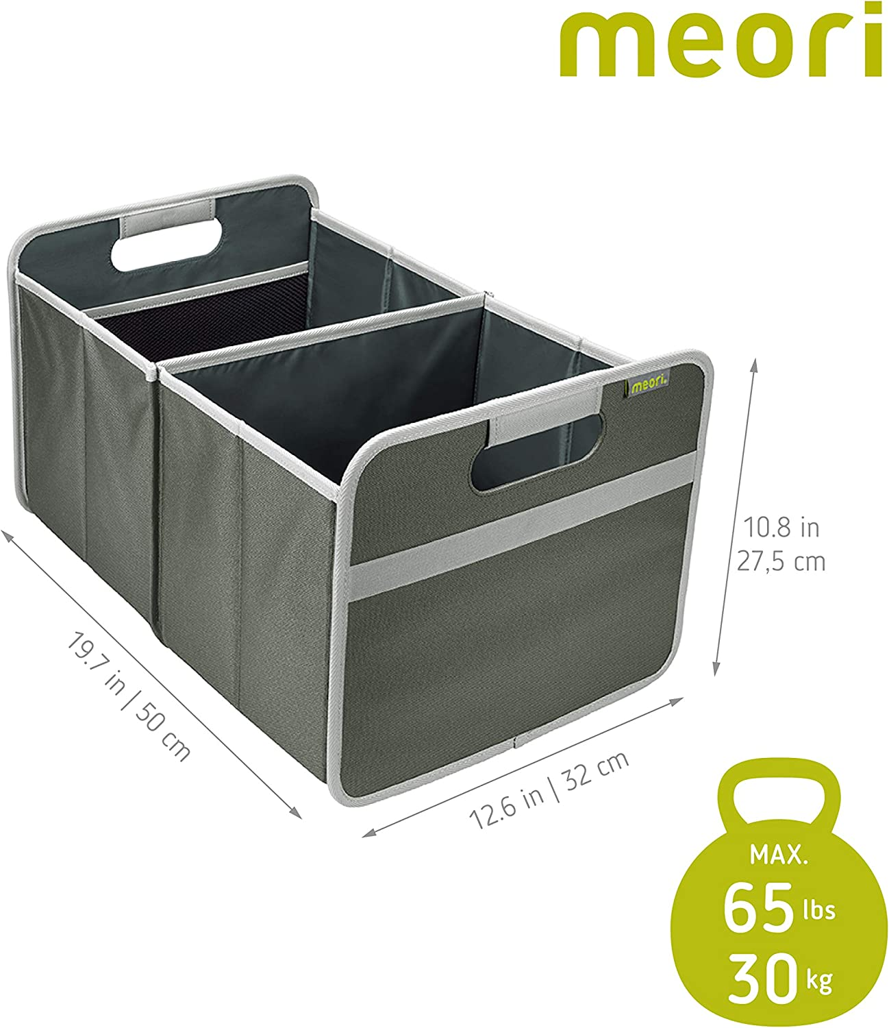 1-Pack meori Lava Black with Dots Foldable Box Large Collapsible Basket Trunk Organizer Camping Yoga Equipment Transport Storage