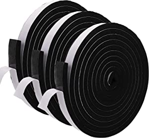 Jucoan 3 Rolls Weather Strips, Self Adhesive Rubber Foam Seal Tape, Total 49 Ft Long, 1 Inch Wide x 1/2 Inch Thick, High Density Door Seal Strip Window Insulation Soundproof Tape