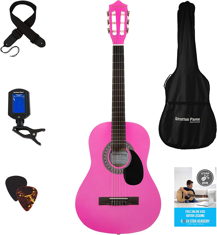 Guitarra acústica 3/4 (91,4 cm), pack de cuerdas de nailon para guitarra infantil clásica, color rosa