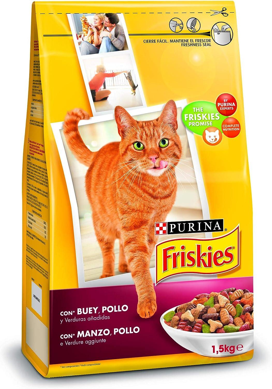 Purina Friskies Pienso para Gato Adulto Buey, Pollo y Verduras, 1 ...
