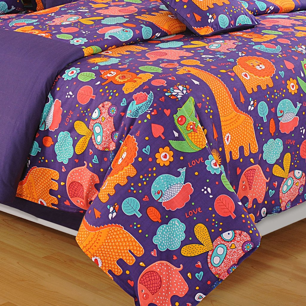 Yuga D/écor Printed Purple and Orange Little Angels Kids Cotton King Size Decorative Duvet Cover Bed Set 90 X 108 Inches