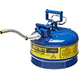 """Justrite AccuFlow 7225320 Type II Galvanized Steel Safety Can with 5/8"""" Flexible Spout, 2.5 Gallon Capacity, Blue"""