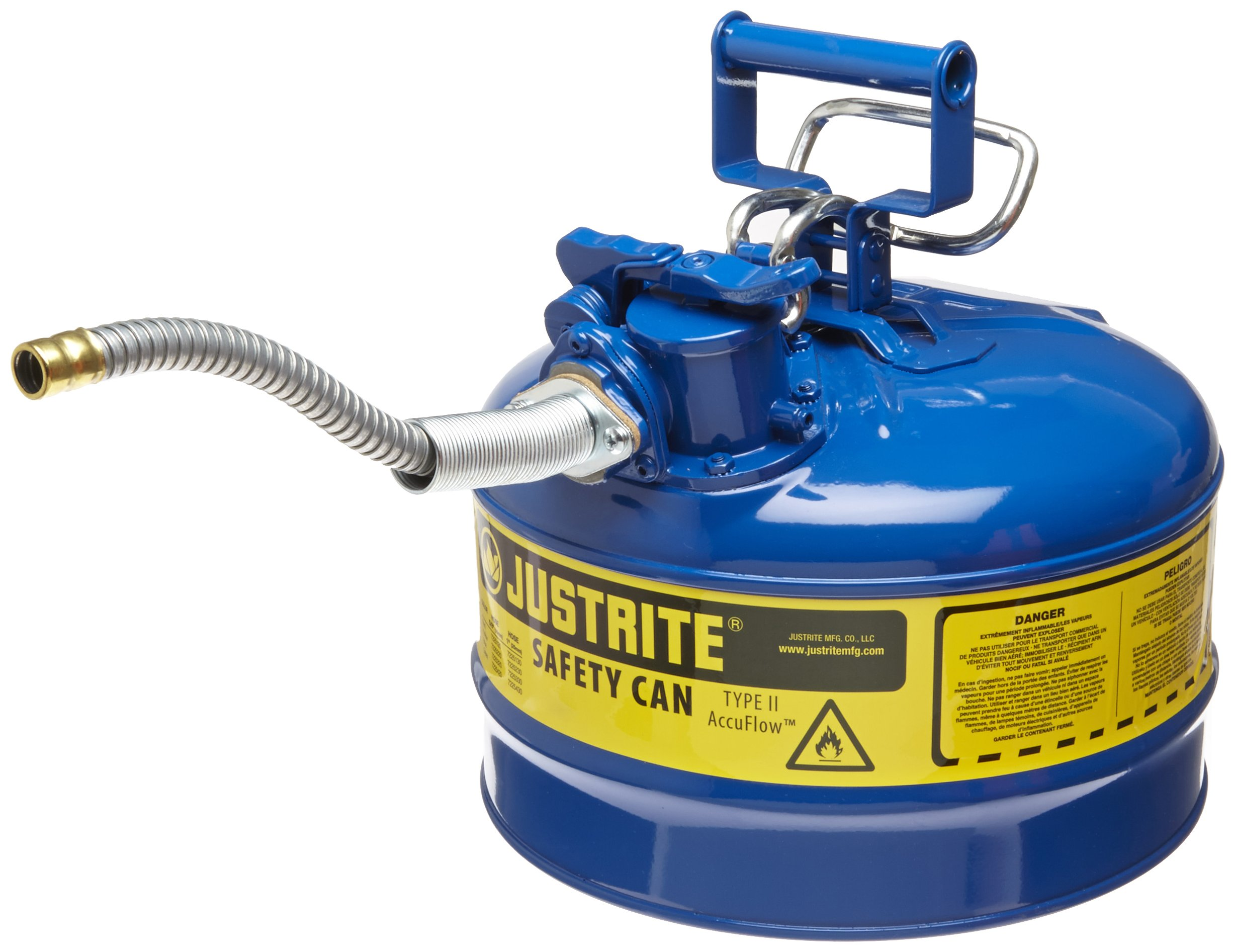 Justrite AccuFlow 7225320 Type II Galvanized Steel Safety Can with 5/8'' Flexible Spout, 2.5 Gallon Capacity, Blue