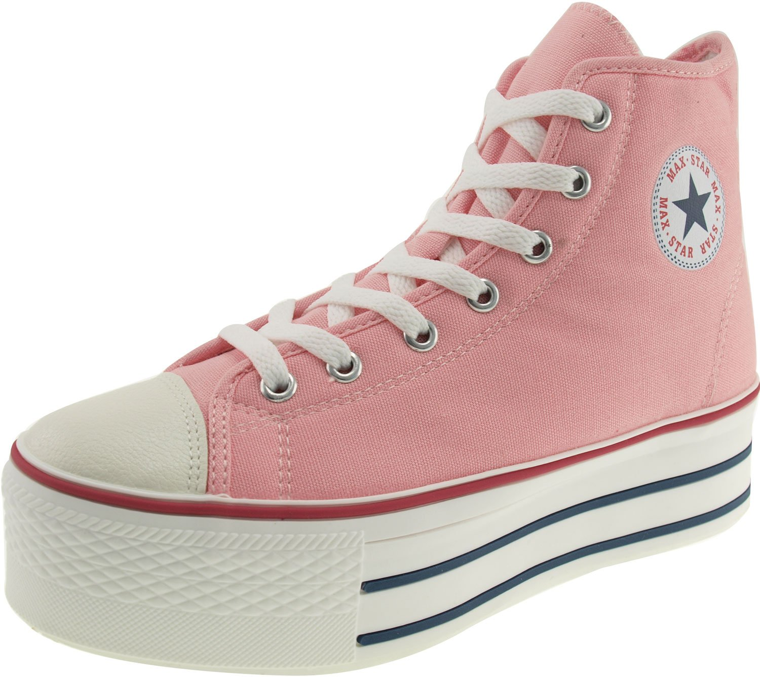 Maxstar Women's C50 7 Holes Zipper Platform Canvas High Top Sneakers B00CHVUZQE 7.5 B(M) US|Pink