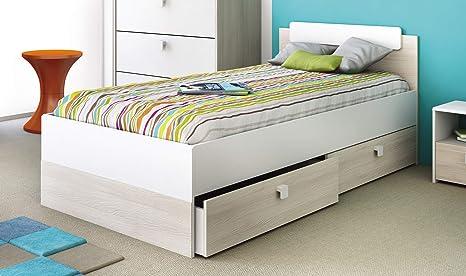Miroytengo Cama Juvenil para somier de 90x190 cm con 2 cajones Inferiores con Ruedas Color Blanco Mate y Acacia