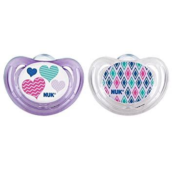 NUK Airflow Orthodontic Pacifier, 6-18 Months, Pink Hearts/Girl, 1 pk