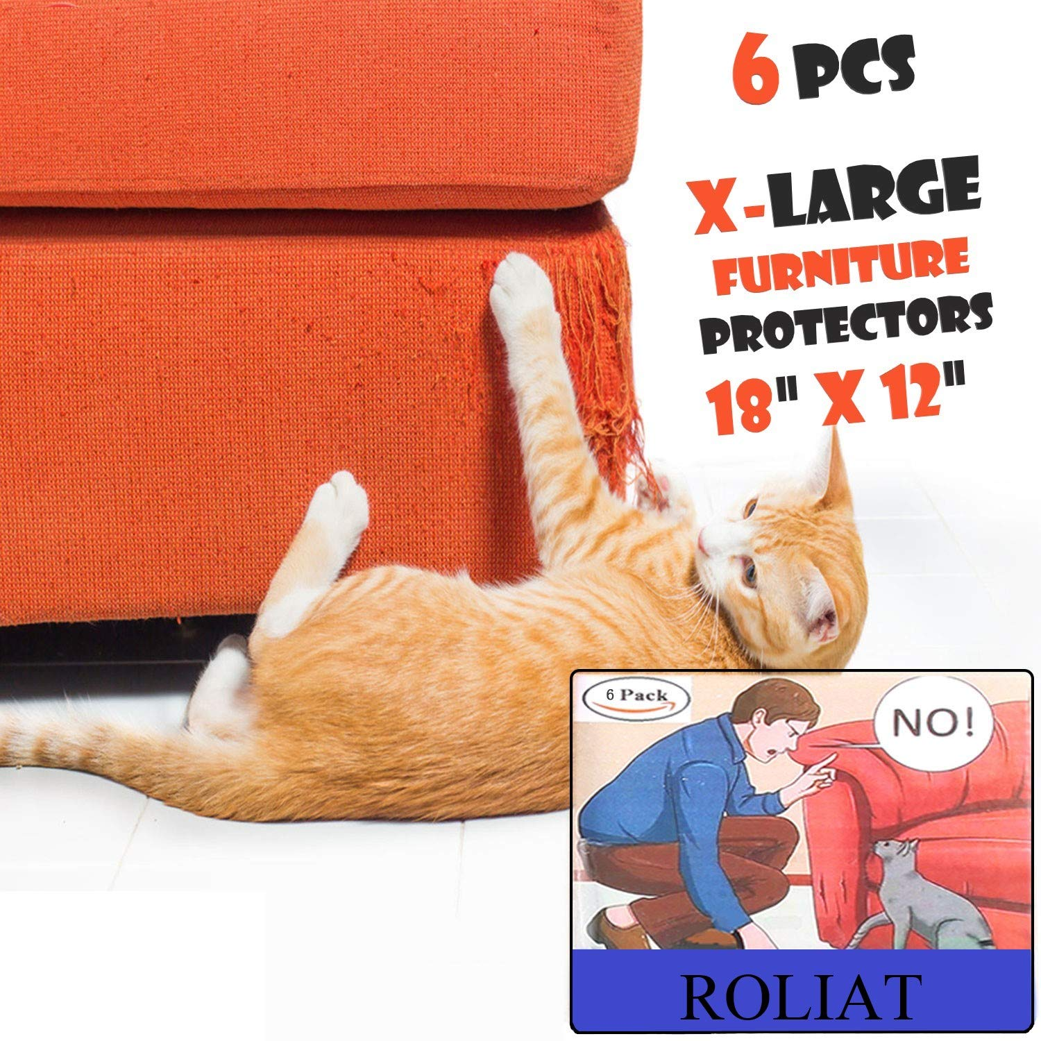 ROLIAT X-Large Cat Scratch Furniture Protectors(6 Packs), Stop My Cat from Scratching Sofa, Cat Scratch Deterrent Self-Adhesive Pads, Cat-Proof Couch Guard, Door Shield
