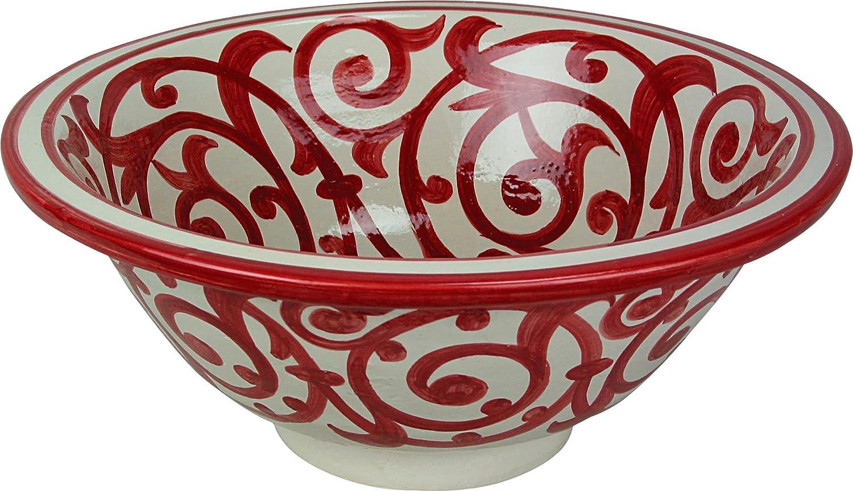 dipinta da dentro a fuori Round Fes Azrou // Red Marrakech nel bianco di ceramica dipinta a mano marocchina il lavandino del bagno lavabo di 40 H 16 cm