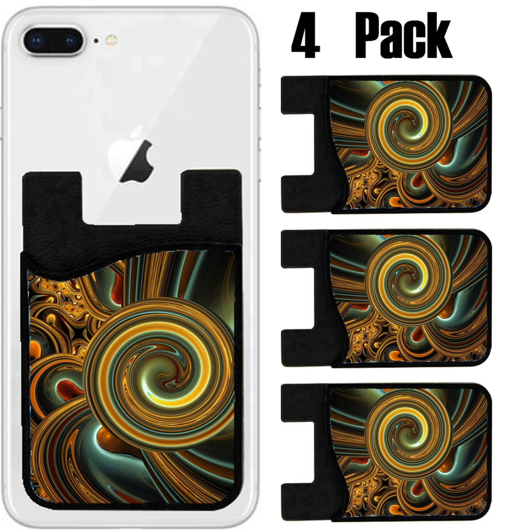 MSD Phone Card holder, sleeve/wallet for iPhone Samsung Android and all smartphones with removable microfiber screen cleaner Silicone card Caddy(4 Pack) Computer generated fractal artwork for creative