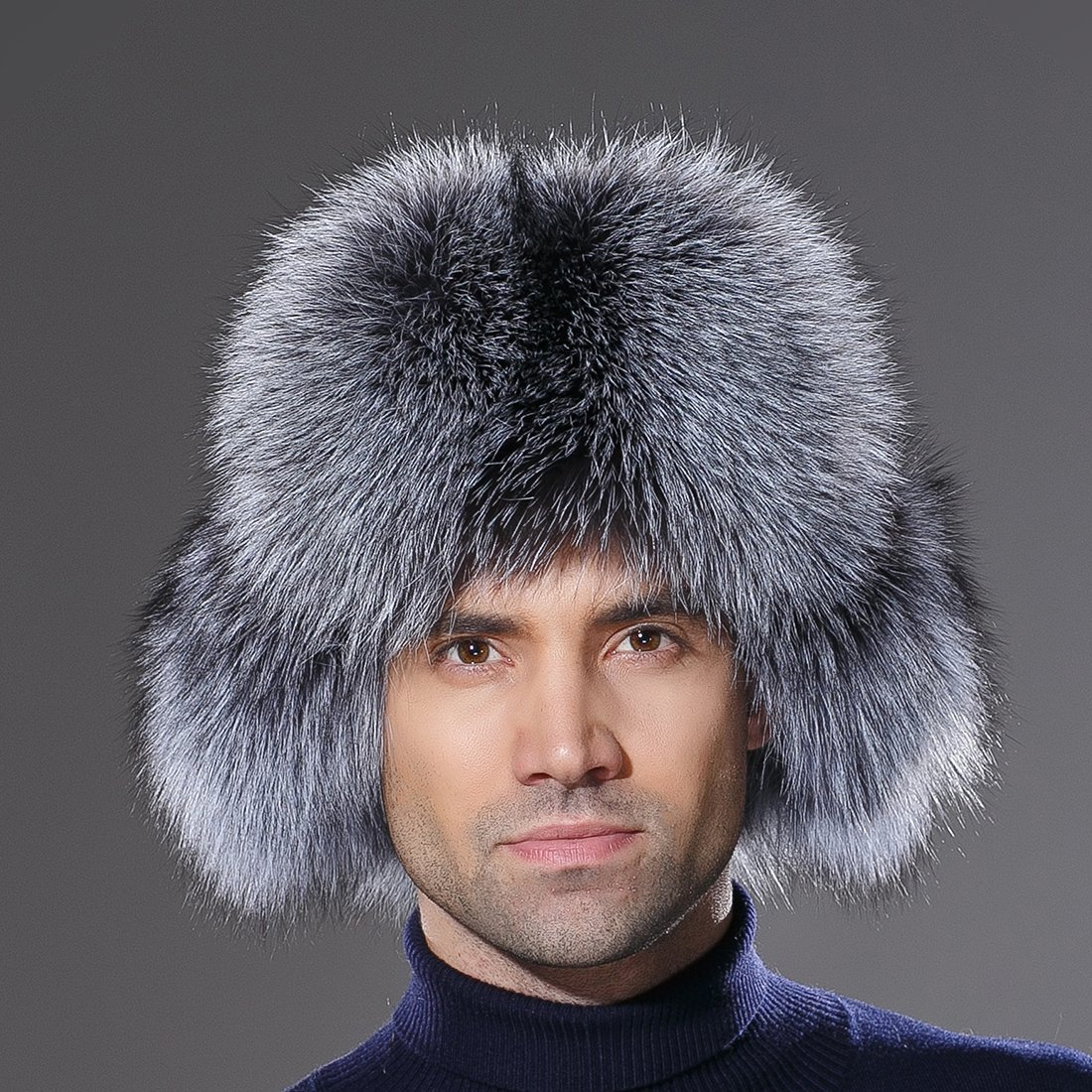 URSFUR Winter Russian Fur Hat Mens Real Silver Fox Fur Ushanka Trapper Cap by URSFUR (Image #3)