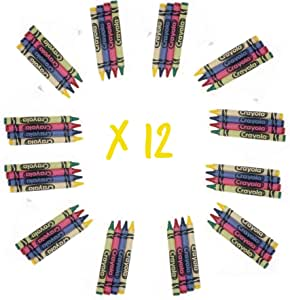 Crayola 4 Pack Full Size Crayons Party Favors Bundle of 12 4 Packs (Contains Blue, Red, Green, Yellow)
