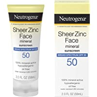 Neutrogena Sheer Zinc Oxide Dry-Touch Face Sunscreen with Broad Spectrum SPF 50, Oil-Free, Non-Comedogenic & Non-Greasy…
