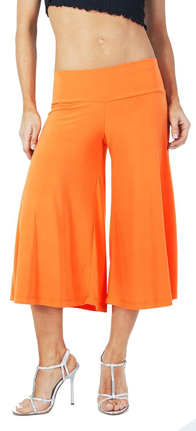 Flowy Soft Gaucho Pants Made in the USA 25 colors available - CAPRIS (4X-Large, Orange)