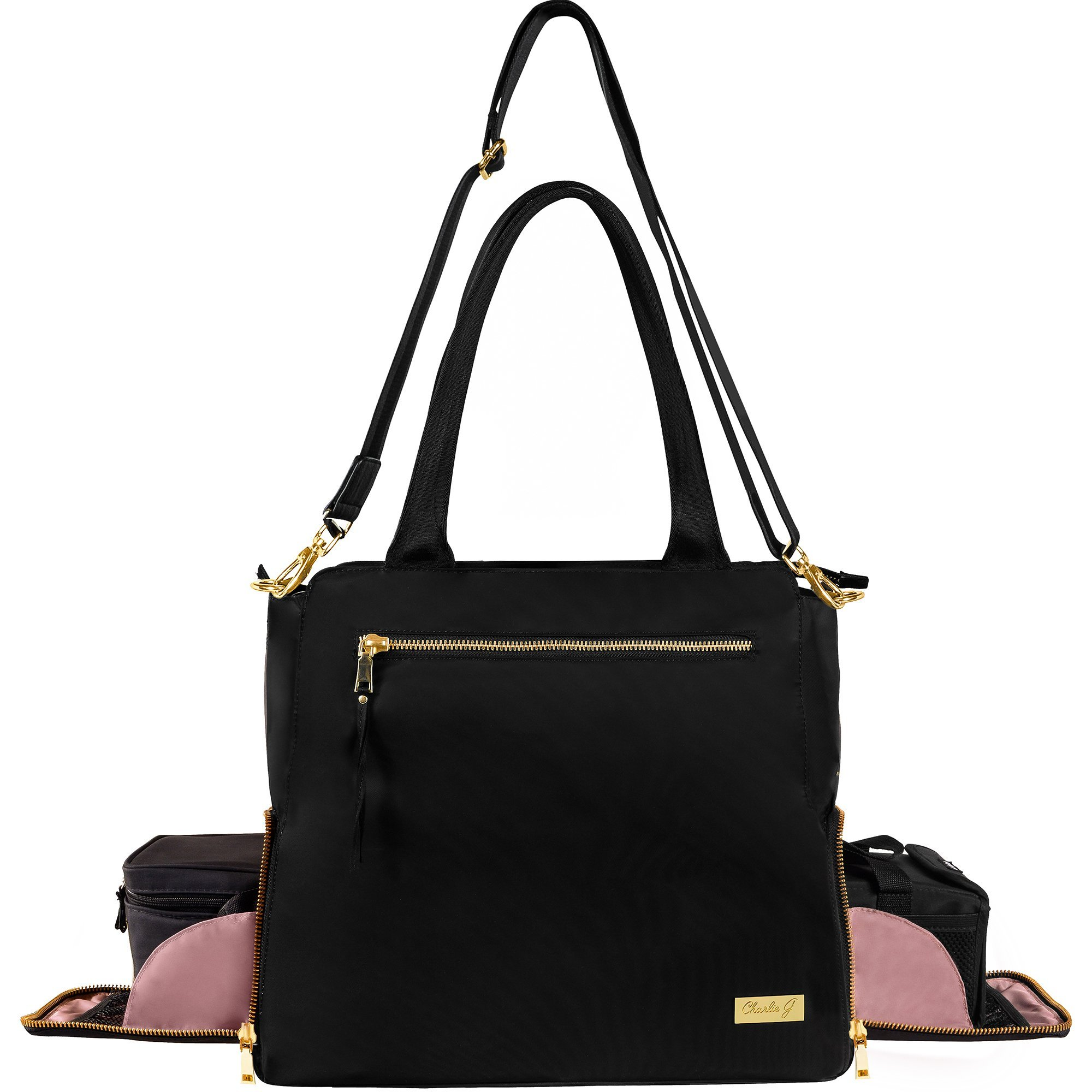 The New Yorker Breast Pump Bag by Charlie G, Black/Gold (Large) by Charlie G Bags (Image #5)