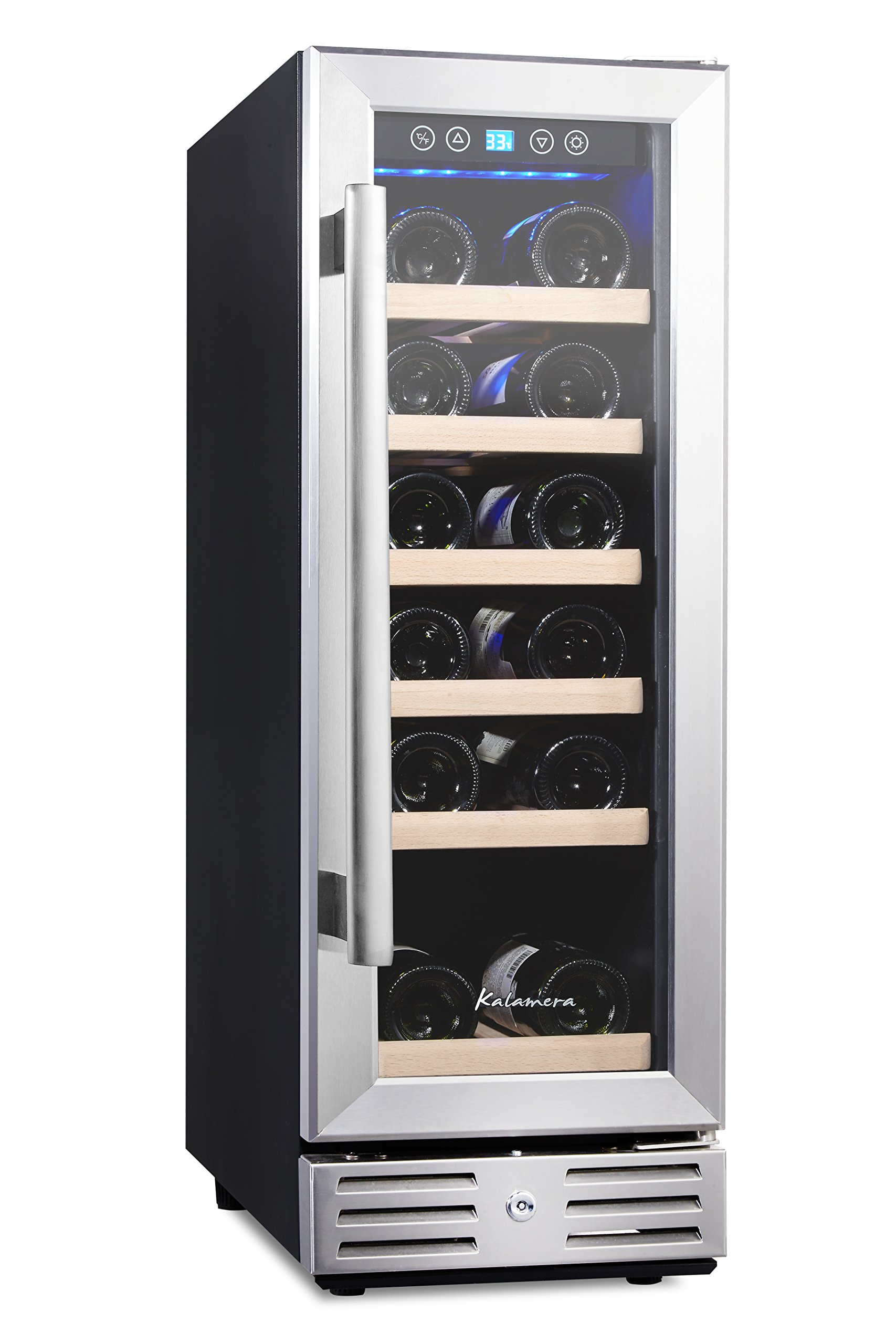 Kalamera 12'' Wine refrigerator 18 Bottle Built-in or Freestanding with Stainless Steel & Double-Layer Tempered Glass Door and Temperature Memory Function