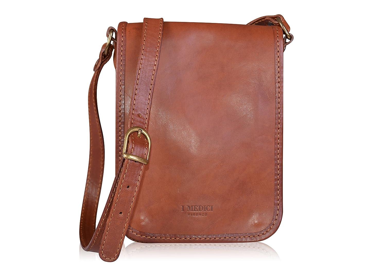 I Medici Firenze Genuine Italian Brown Leather Crossbody Bag ... e3c8ba62aa2ba