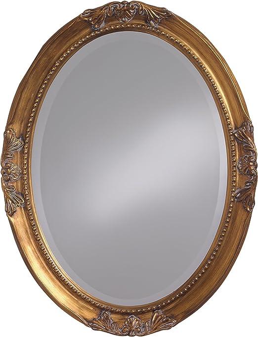 Amazon Com Howard Elliott Queen Ann Oval Hanging Wall Mirror Beveled Vanity Antique Gold Leaf 25 X 33 Inch Home Kitchen
