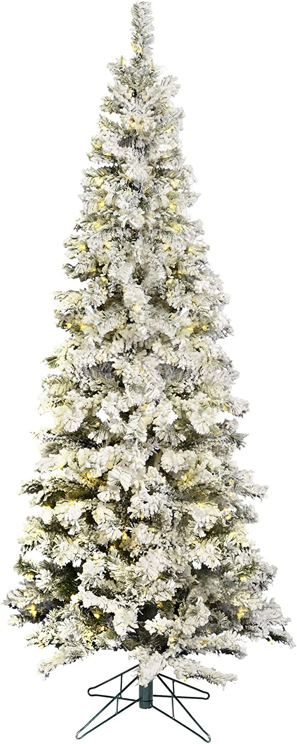 Vickerman 6.5' Flocked Pacific Artificial Christmas Tree, Warm White LED Lights - Snow Covered Faux Tree - Seasonal Indoor Home Decor