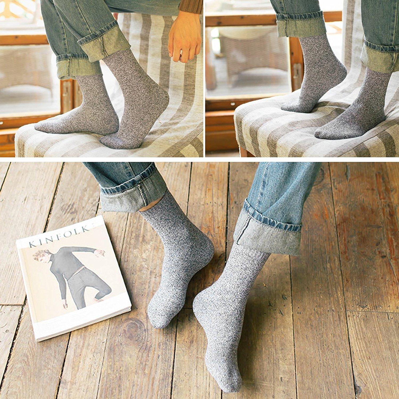 5 Pairs Men Wool Socks Midweight Comfort Crew Socks Value Pack