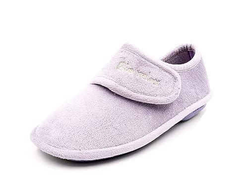 Zapatilla Mujer de Andar por casa de la Marca BIORELAX, Tejido suapel Color Lila, Cierre Velcro - 4620-133 (38 EU, Lila): Amazon.es: Zapatos y complementos