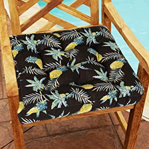 HIGOGOGO Outdoor Seat Cushion, Square Tropical Pineapple Pattern Patio Furniture Chair Cushion, Cotton Linen Thick Floor Pillow Seating for Dining Bench Indoor Chair, Black, 22x22 Inch