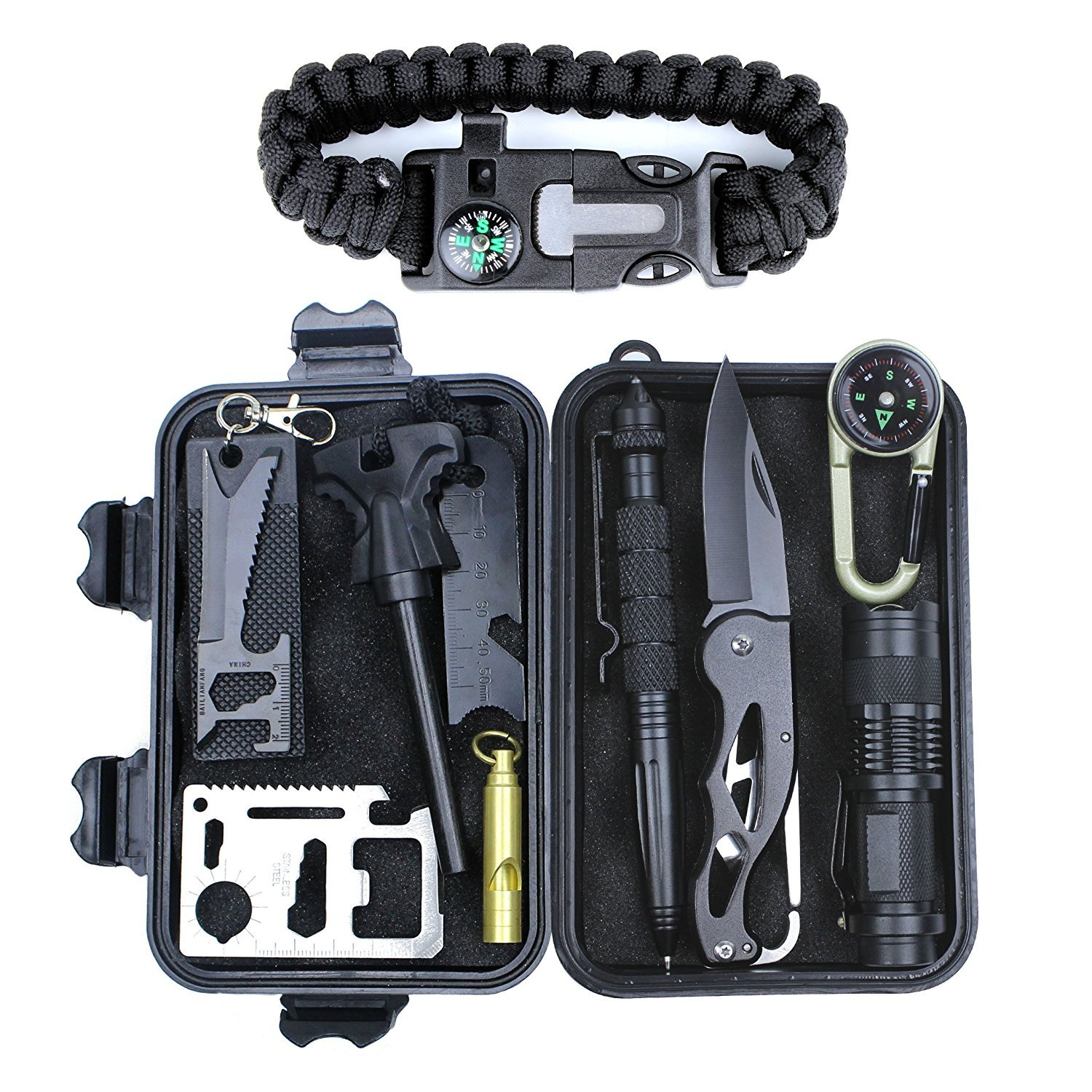 Aizhy Emergency Survival Kit 11 in 1,Professional Outdoor Survival Gear Tool with Survival Bracelet, Fire Starter, Compass, Swiss Card, Saber Card Knife for Traveling/Hiking/Biking/Climbing/Hunting