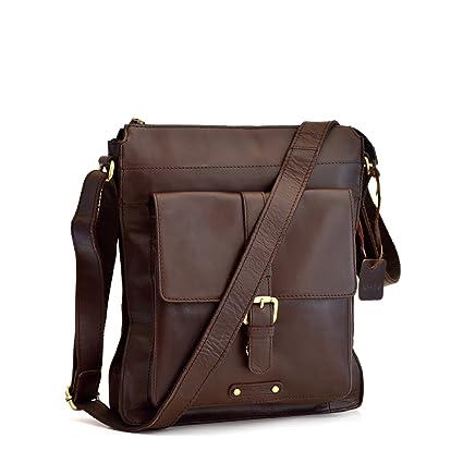 0fd37e6da4ff Style n Craft 392002 Tall Messenger Bag in Full Grain Leather in Dark Brown