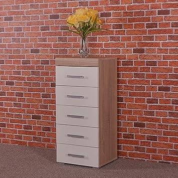 DRP Trading White U0026 Sonoma Oak Tall Boy Chest 5 Drawers Bedroom Furniture    Narrow Slim
