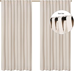Farmhouse Curtain in Cotton/Linen Fabric 50x63 Natural, Cotton Linen Curtains, 2 Panels Curtain,Tab Top Curtains, Room Darkening Drapes, Curtains for Bedroom, Curtains for Living Room, Set of 2
