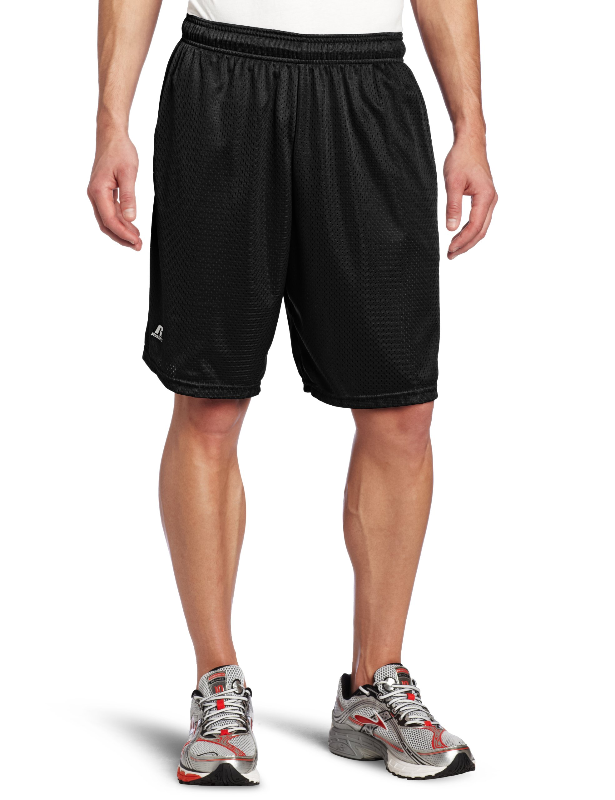 Russell Athletic Men's Mesh Short with Pockets, Black, Medium
