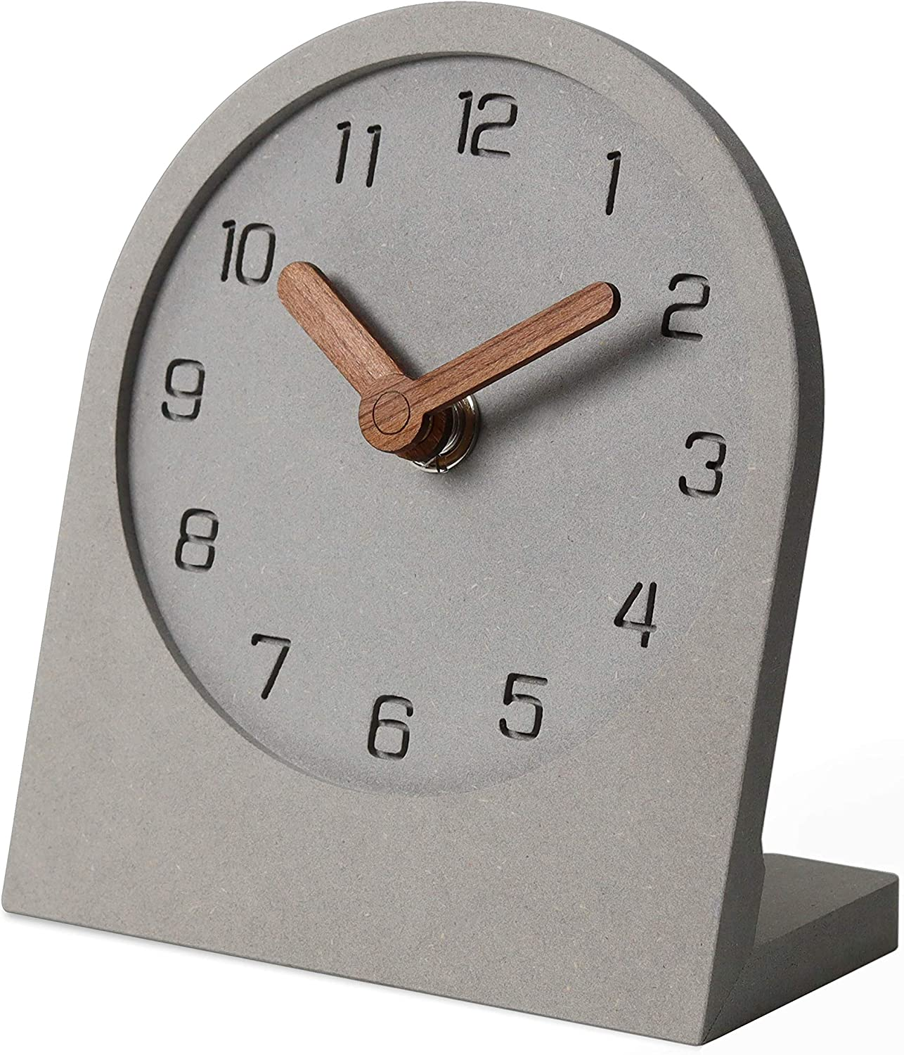mooqs Wooden Silent Non-Ticking Battery Operated Decorative Small Mini Analog Modern Shelf Desk Table Clock for Home, Office, Living Room, Bed Room (Gray)