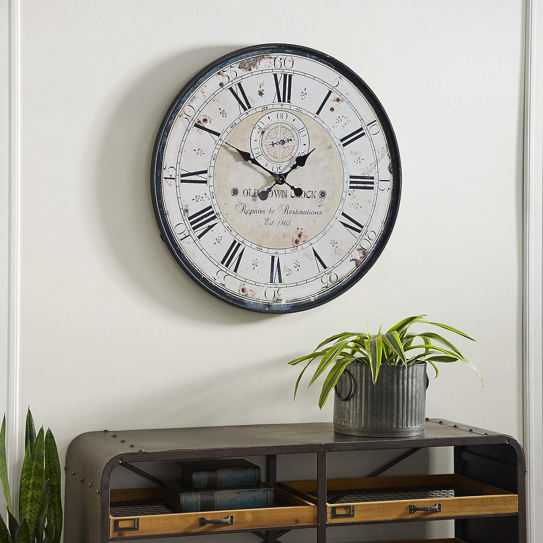 Deco 79 52531 Wood Metal Wall Clock 32 Amazon Ca Home Kitchen
