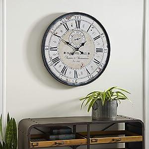 "Deco 79 Round Rustic Black Iron & Wood Antique Roman Numeral Wall Clock, 32"""