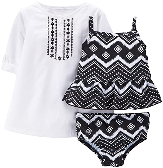 7f3066acbc Amazon.com  Carter s Baby Girls  3-piece Tankini   Cover Up Set  Clothing