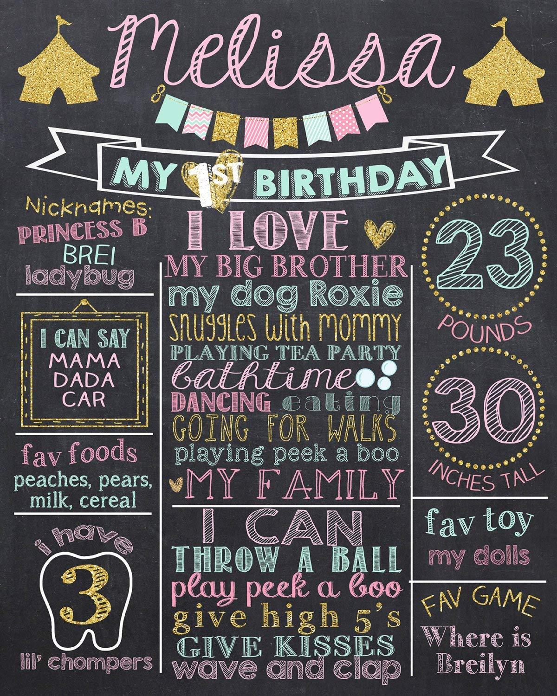 Dozili - Pizarra Personalizable para Primer cumpleaños ...