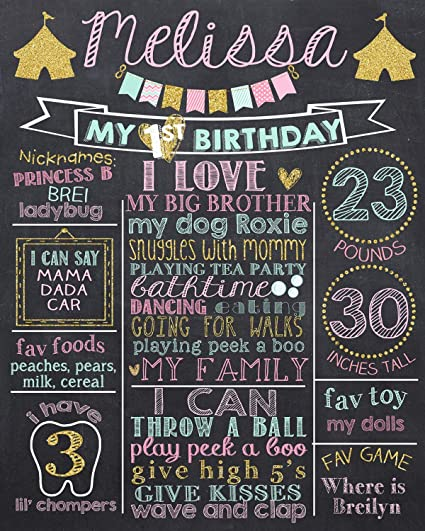 amazon com dozili personalized circus 1st birthday chalkboard style
