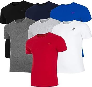 4F TSM003 - Camiseta de manga corta para hombre, cuello redondo, 100 % algodón, informal, para verano, exterior, varios colores: Amazon.es: Deportes y aire libre