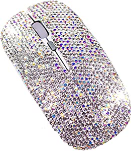 TISHAA Bling Wireless Mouse Accessories – Computer Laptop PC Notebook Desk Office Supplies Décor Covered with Rhinestone Crystal Dazzling Glitter Decoration with USB Receiver Gift for Girlfriend Her