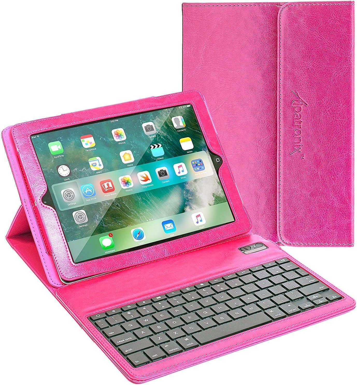 iPad Case with Keyboard, 9.7 inch Alpatronix KX130 Leather iPad Cover w/Detachable Wireless Bluetooth Keyboard Compatible w/Apple iPad 6 (2018), iPad 5 (2017), iPad Pro 9.7 & iPad Air 2/1 – Pink