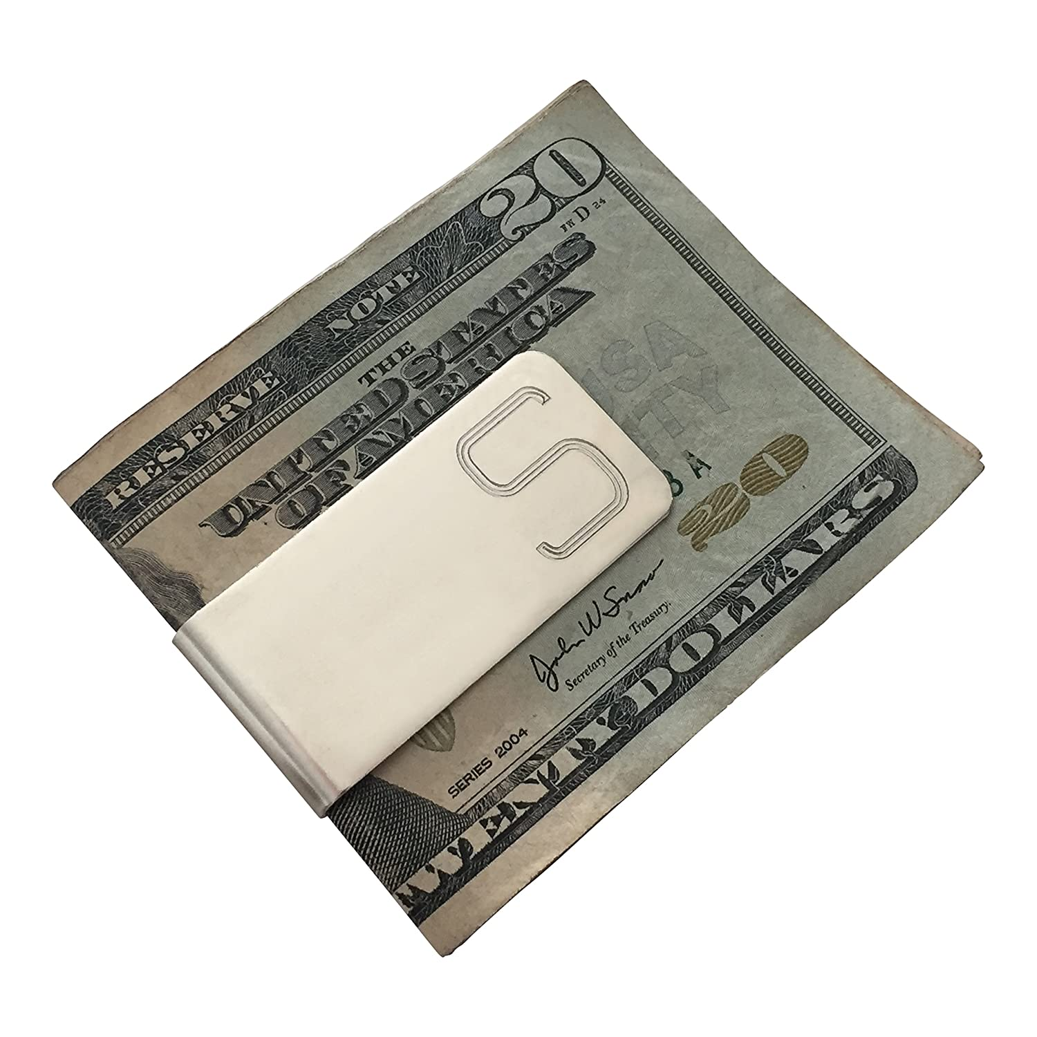 S Men Initial Engraved Personalized Custom Silver Money Clip Perfect Gift