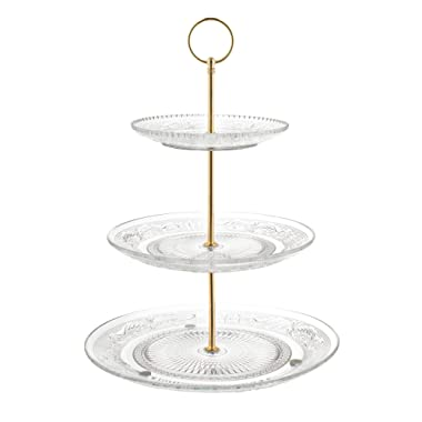 Fisher Home Products 3-Tiered Serving Stand (Glass) Beautiful, Elegant Dishware | Serve Snacks, Appetizers, Cakes, Candies | Durable, Reusable | Party or Holiday Hosting (GOLD)