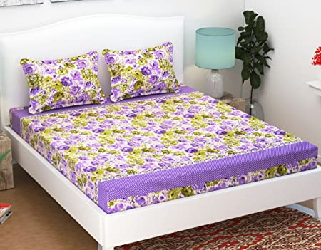 Ab Home Decor Elastic Fitted Cotton Bedsheet, Multicolour