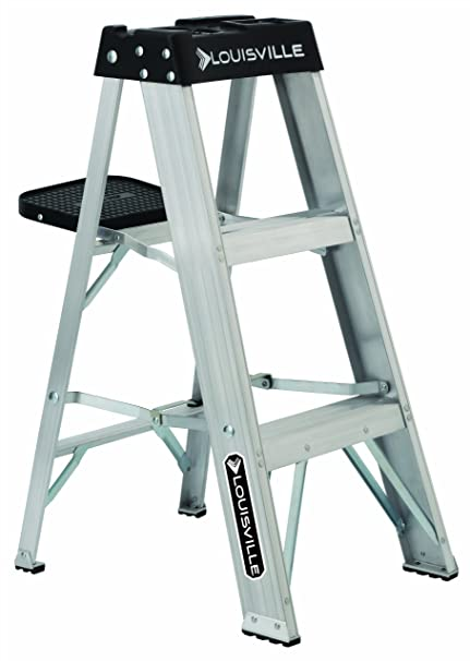 Awe Inspiring Louisville Ladder As3003 Aluminum 3 Foot Ladder 300 Pound Duty Rating Pabps2019 Chair Design Images Pabps2019Com