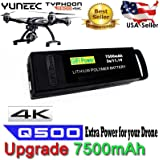 Gifi Power YUNEEC High Power 3S LiPo Flight Battery for Typhoon Q500, Q500+, Q500 4K, Typhoon G quadcopters and Q500 Drone (7500mAh 3S LiPo Battery)